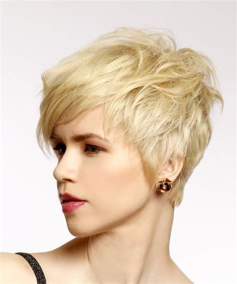 swept back casual haircust short straight casual pixie hairstyle with side swept