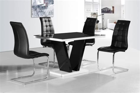 Ga Vico Blg White Black Gloss Gloss Designer 120 Cm Dining Black Dining Table And 4 Chairs