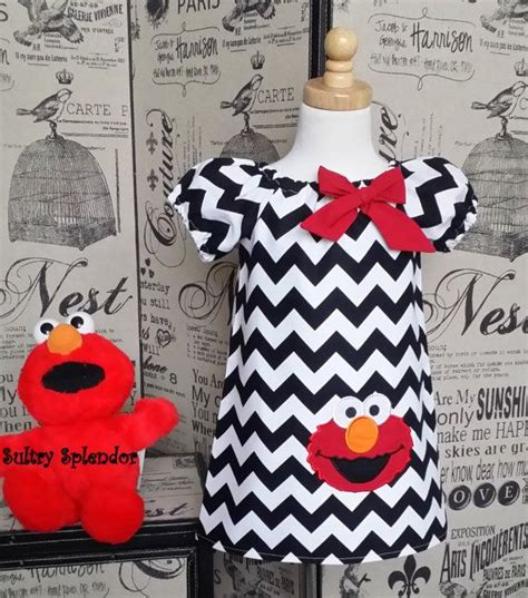 White Elmo Dress Piyama sesame elmo sleeves peasant dress in a black and white chevron fabric