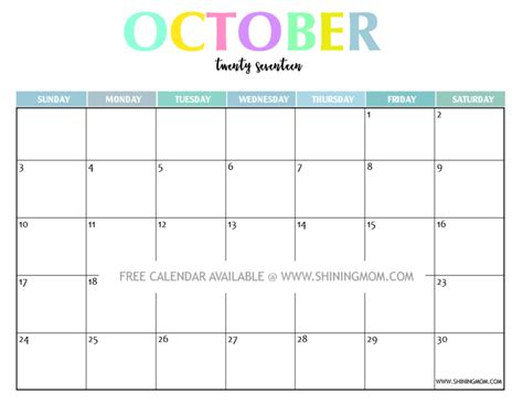 Calendar 2017 October Print Your Free 2017 Printable Calendar And Colorful