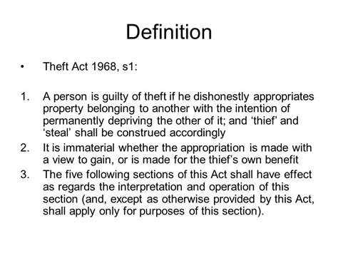 section 26 theft act definition actus reus ppt video online download