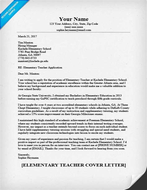 cover letter and resume template for teachers elementary cover letter sle guide resumecompanion