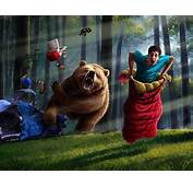 Attack Bears Camping Fantasy Forests Funny Race
