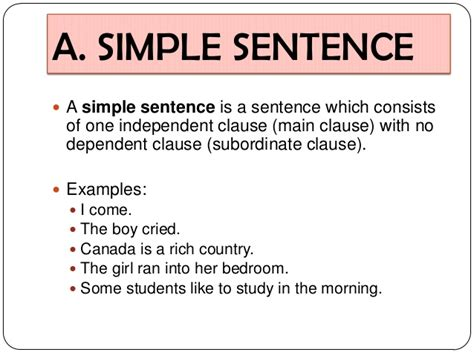 basic sentence pattern meaning and exles simple sentence a simple sentence a simple