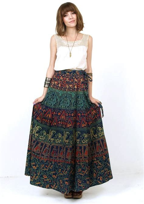 Wilatika Ethnic Warp Maxi Skirt 70s indian ethnic tribal print cotton wrap maxi skirt small indian wear tribal