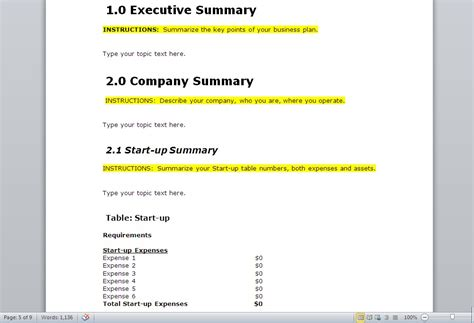 business plan startup template 10 free business plan