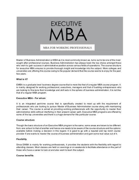 Importance Of Mba by Importance Of Executive Mba