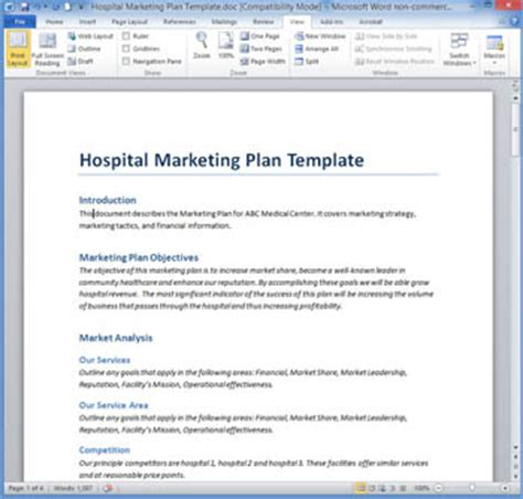 hospital marketing plan template marketing plan templates 20 formats exles and