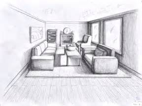 Room Sketch by One Point Perspective Living Room Drawing Images