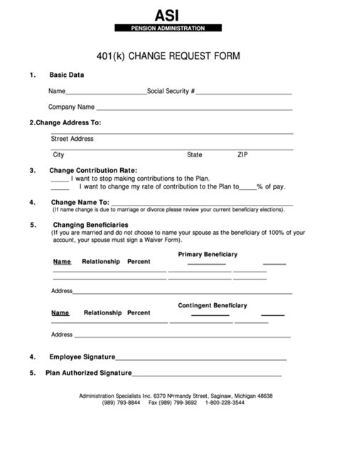 A State Specific 401k Enrollment Form Printable Blank Pdf And Instructions Of How To Complete 401 K Plan Document Template