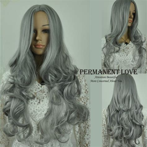 body wave on gray hair heat resistant synthetic long grey wig cheap body wave