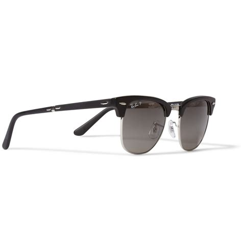 Jual Rayban Clubmaster Black lyst ban clubmaster folding acetate and metal polarised sunglasses in black for