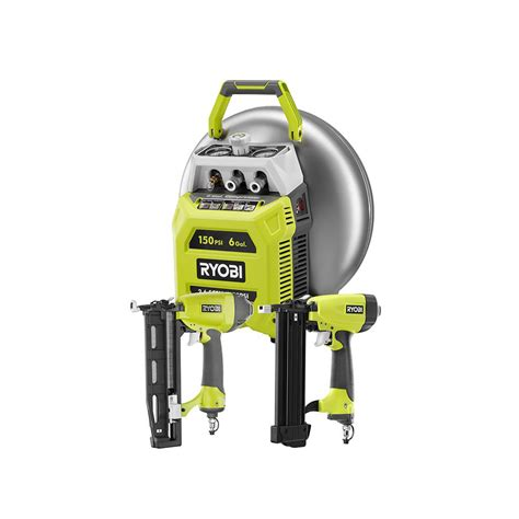 ryobi 6 gal electric pancake compressor 2 tool combo kit yg62ckn the home depot