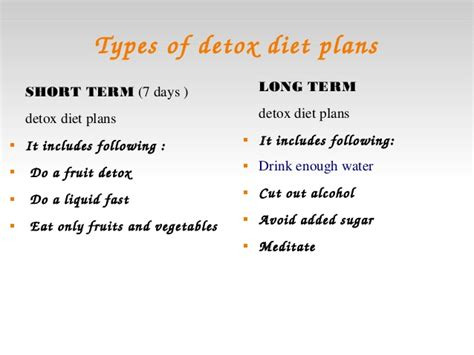 Term Detox Diet Plan by Water Detoxing For Weight Loss
