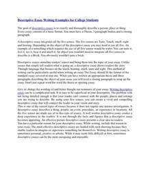 Descriptive Writing Essays Exles by Descriptive Essay Writing Exles For College Students