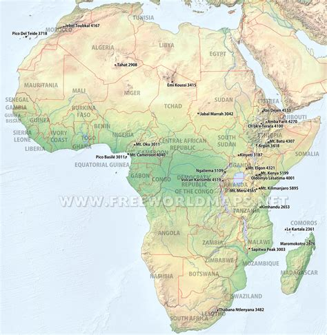 africa map mountains geographical map of africa