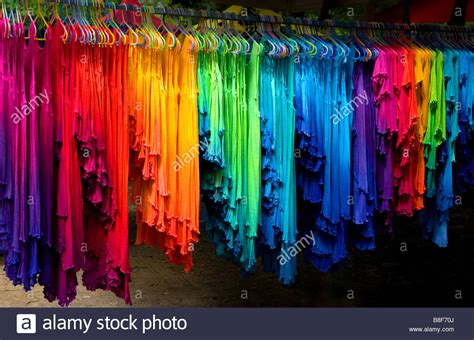 colorful clothes colourful clothes at mullumbimby markets stock photo