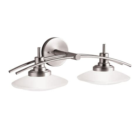 nickel bathroom light fixtures kichler lighting 6162ni structures wall mount 2 light halogen bath light with glass shades
