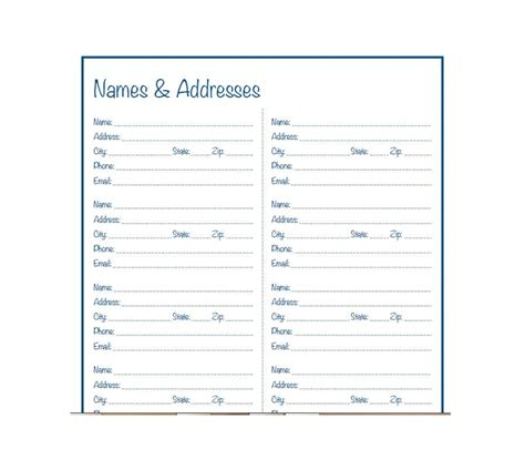 telephone address book template 40 printable editable address book templates 101 free