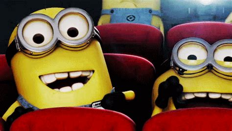 wallpaper gif minions happy movie theater gif find share on giphy