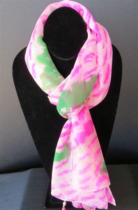 pink and green print scarf pink green things