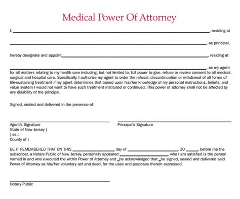 sample medical power  attorney form   documents