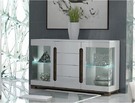 Sideboard With Glass Doors Lorenz High Gloss White Wide Sideboard Glass Door With Led Lights Lounge Furnit Ebay