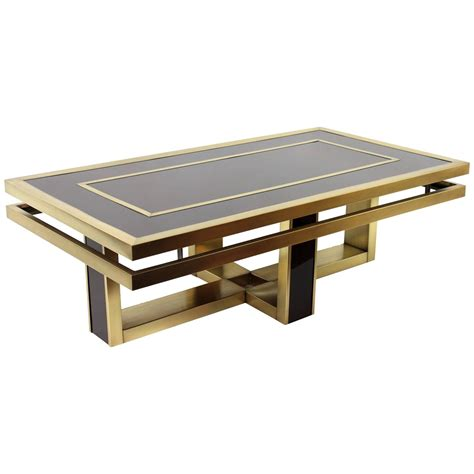 Brown Glass Coffee Table Italian 1960s Brown Glass And Brass Coffee Table In The Style Of Romeo Rega At 1stdibs