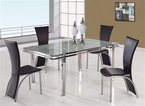 refined rectangular glass top table and four chairs