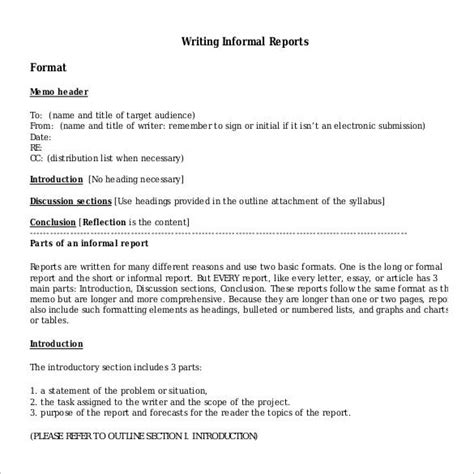 informal report sle writing a report sle 28 images how to write report sle