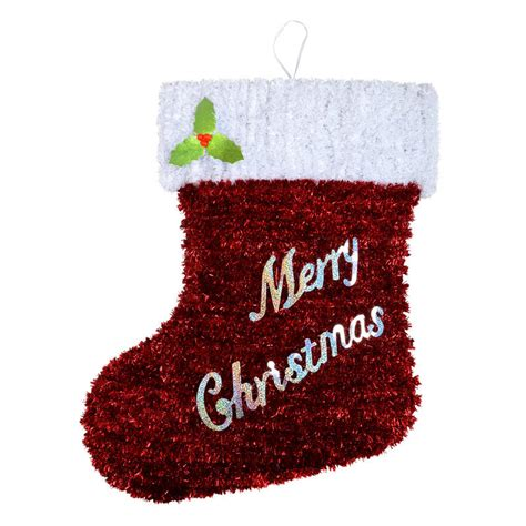 large tinsel christmas wall plaque decoration stocking