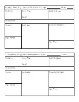 guided reading cafe lesson plan template freebie