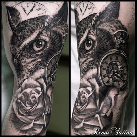 owl half sleeve tattoo black and grey owl by remis remistattoo realism