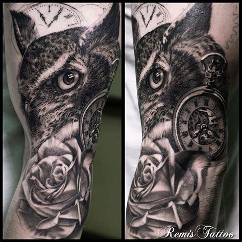 black owl tattoo black and grey owl by remis remistattoo realism