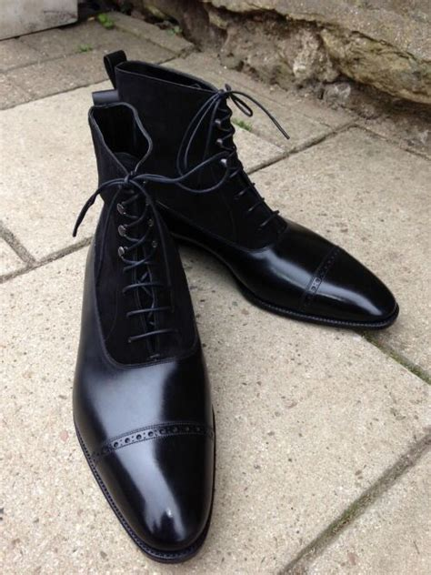 Handmade Shoes California - handmade black leather and suede lace up boot mens