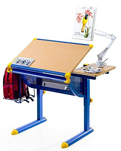 Student Drafting Table Merax 174 Adjustable Drawing And Drafting Table Student Desk Station Blue Furniture Office