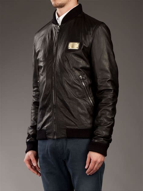 lyst dolce gabbana leather bomber jacket in black for