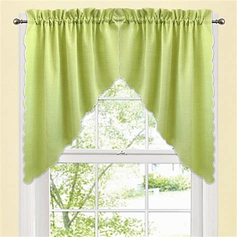 Green Bathroom Window Curtains Window Curtain Swag Valance Pair In Green Bed Bath Beyond