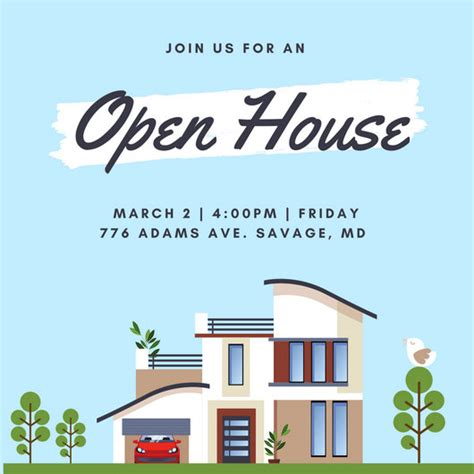 open house template open house invitation templates canva