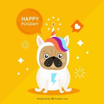 pug in unicorn costume unicorn background design vector free