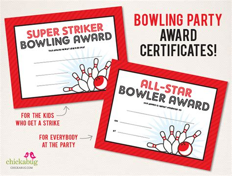 printable bowling gift certificates 75 page bowling party printables kit