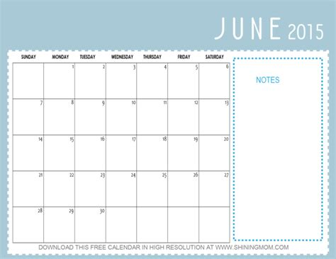 June 2015 Calendar 10 Pretty Calendars For June 2015