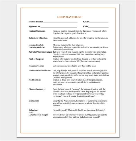 student lesson plan template lesson plan outline template 23 exles formats and