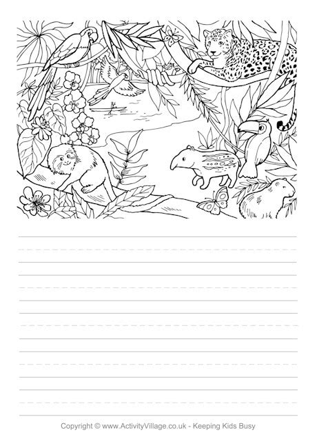 lined paper with rainforest border rainforest story paper
