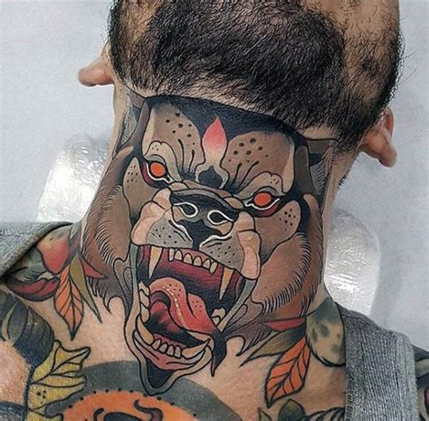 american traditional colored neck tattoo of evil dog face