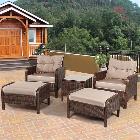 5 PCS Rattan Wicker Furniture Set Sofa Ottoman W/ Cushions