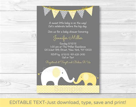 free printable elephant baby shower invitations yellow chevron elephant baby printable baby shower