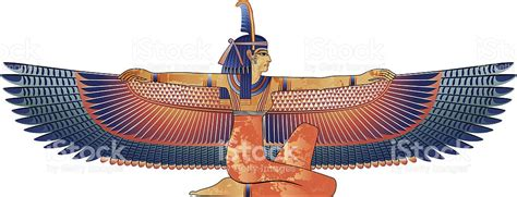 egyptian queen with wings isolated on white stock vector