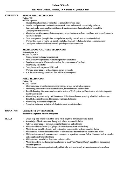 Field Technician Resume by Field Technician Resume Sles Velvet