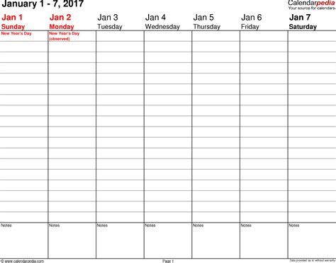 printable weekly calendar with hours printable calendar 2017 weekly calendar 2017 for pdf 12 free printable templates
